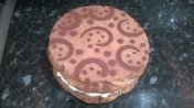 Lemon sponge with buttercream and chocolate dust patterns
